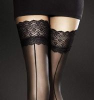 Fiore Celia Lace Top Holdup Seamed Stockings